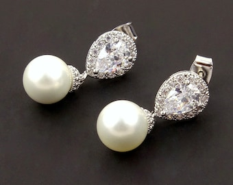 Bridal White Pearl Earrings Drop // Cubic Zirconia Jewelry for Wedding // Matron of Honour Proposal Gift Ideas