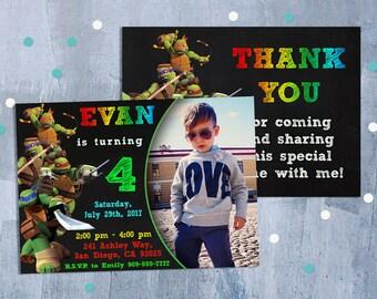 Ninja Turtles Invitation, TMNT Invitation, Teenage Mutant Ninja Turtles Birthday Invitations with Free Thank You Card, Personalized JPEG