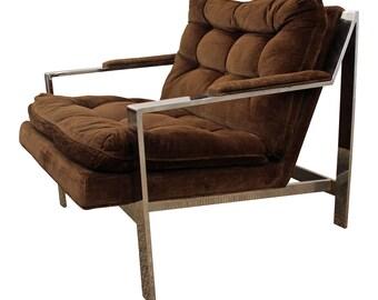 Mid-Century Lounge Chair Cy Mann Flat Z Bar Cube Chair Danish Modern Milo Baughman Style Chrome Cube Chair