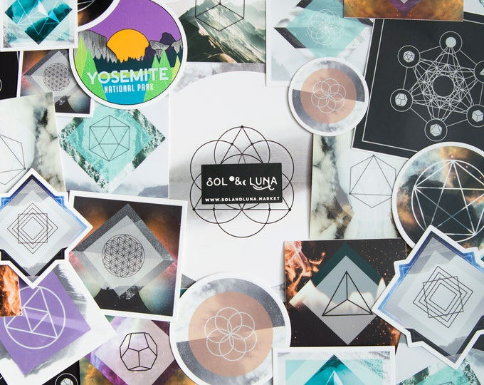Featured listing image: Random Sticker Pack - (5) Vinyl Stickers, travel, nature enthusiast, backpacking, outdoors, sacred geometry, geometric, art stickers