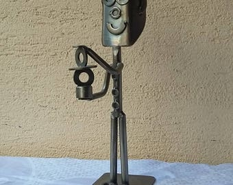 Vintage metal sculpture robot french industrial style contemporary art 90's