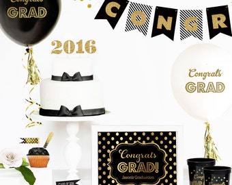 Graduation Party | Graduation Party in a Box | Graduation Decor | Class of 2017 | GOLD Grad Party Decor | Graduation Party Decorations
