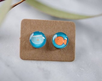 Fishbowl glass earrings. 10mm Fish Bowl earrings studs, hypoallergenic surgical steel studs