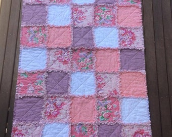 Baby Rag Quilt, Jennifer Paganelli Taylor in Pink and Rose, Baby Girl Blanket, Tummy Time Mat, Handmade Quilt, Baby Shower, Ready to Ship