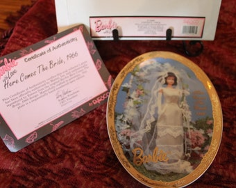 Enesco Barbie Collector Plate - Here Comes The Bride 1966 in Original Box with Certificate of Authenticity