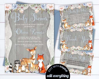 Rustic Baby Shower Invitation Boy Baby Shower Invite Woodland Animal Baby Shower Template Rustic Baby Boy Shower invitation Template