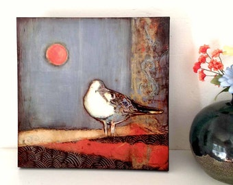 "Seagull Wall Art--Wood Mounted Archival Print of Original Mixed Media Art; Hand-Painted Details and Finish--""Seagull Moon""--Pam Kapchinske"