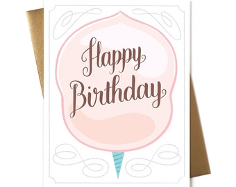 Happy Birthday Cotton Candy - Greeting Card