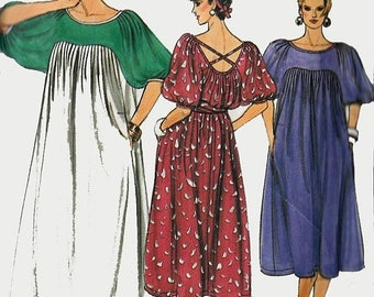 ON SALE Vintage 1980s Loose Fitting Caftan Style Dress w/ Open Criss Cross Back Sewing Pattern Vogue 9216 80s Plus Size 20-22 Bust 42-44 UNC