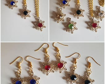 Gold Plated Christmas Snowflake with Large Gems 7 Colours Necklace or Earrings