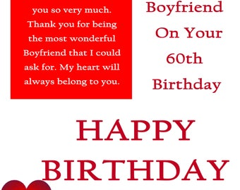 Boyfriend 60 Birthday Card with removable laminate