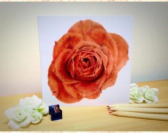 Red Rose Realism Drawing - Greetings Card (Art Print). Blank inside and free U.K. shipping!