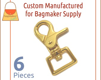 3/4 Inch Heavy Trigger Style Swivel Snap Hooks, Gold Finish, 6 Pack, Purse Handbag Bag Making Hardware, SNP-AA156