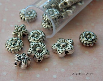 Pewter Flower Beads Mix of 3 Styles For Jewelry Making Tube of 30 Pieces