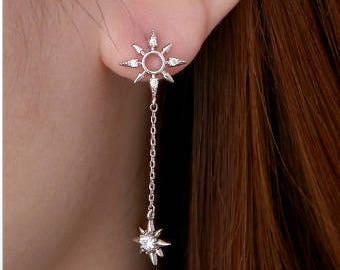 Dainty 925 Sterling Silver Pin Sun Stud Earring.