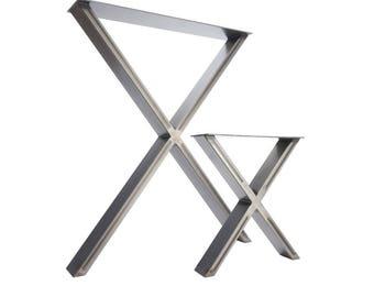 2x gambe tavolo - à la carte 'X' piedistalli in acciaio industriale