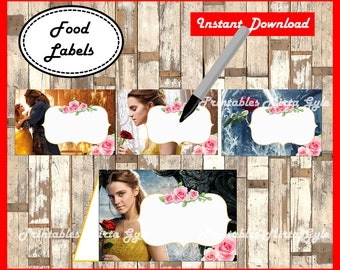 Beauty and The Beast Food labels, printableBeauty and The Beast party food tent cards ,Beauty and The Beast food tent cards