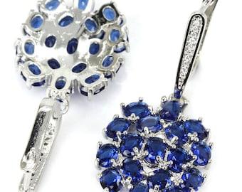 Sterling Silver Rich Blue Tanzanite Gemstone Drop Earrings & AAA CZ Accents