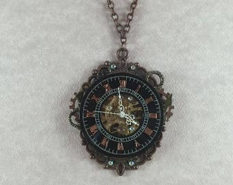 Steampunk Time Copper Cameo Necklace