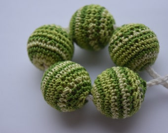 multi green crochet beads  22mm wooden round beads, handmade crochet, for jewelry making beads