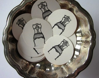 Vintage Chair Tags Round Gift Tags Set of 10