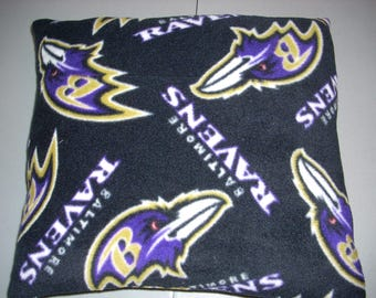 "Baltimore Ravens Fleece Pillow (hand crafted) approx. size 14"" by 14"" and  5 1/2 Inches thick"