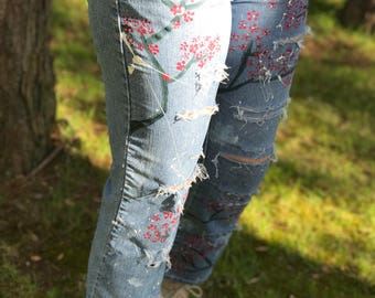 Hand-Painted Cherry Blossom Distressed Denim