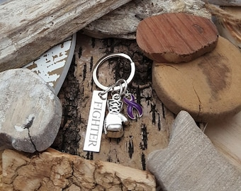 DP-3 Crohns Awareness Colitis Ulcerative Colitis Keychain Chiari Awareness FIGHTER Boxing Glove Charm Personalized Gift For Him Gift For Her