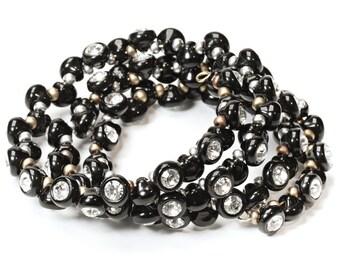 Bangle Bracelet Spiral bracelet memory-wire bracelet, glass blocks, rhinestone