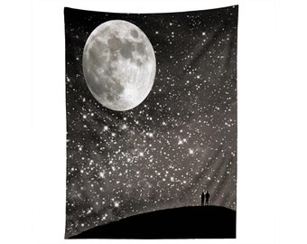 Starry Night Sky Wall Art. Wall Tapestry. Dorm Wall Decor. Large Wall Art. Stars Moon Night. Black and White. Silver. Dreamy. Love. Couple