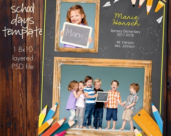School Class Photo Template - 8x10 Photoshop File -School Supplies