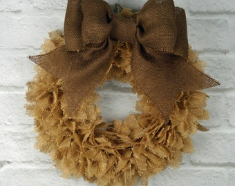 "16""  Handmade Burlap Rag Wreath - READY TO SHIP"