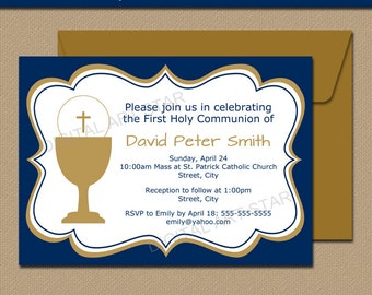 First Communion Invitation Template - EDITABLE Navy & Gold First Communion Invitations - DIY Printable Boy First Communion Invites Download