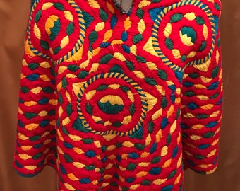 Vintage Boho Poncho Native American. Brightly Multi-colored. Blanket-type material.