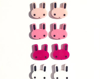 Acrylic / perspex laser cut painted bunny studs