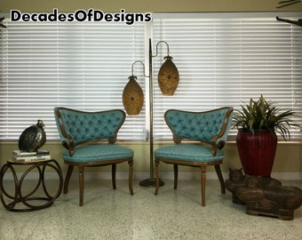 1930s/40s Pair Of Hollywood Regency Asymmetrical Lounge Chairs Fireside Antique French Grosfeld House
