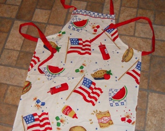 Hand made Picnic Grilling Apron- Great  Any time Gift