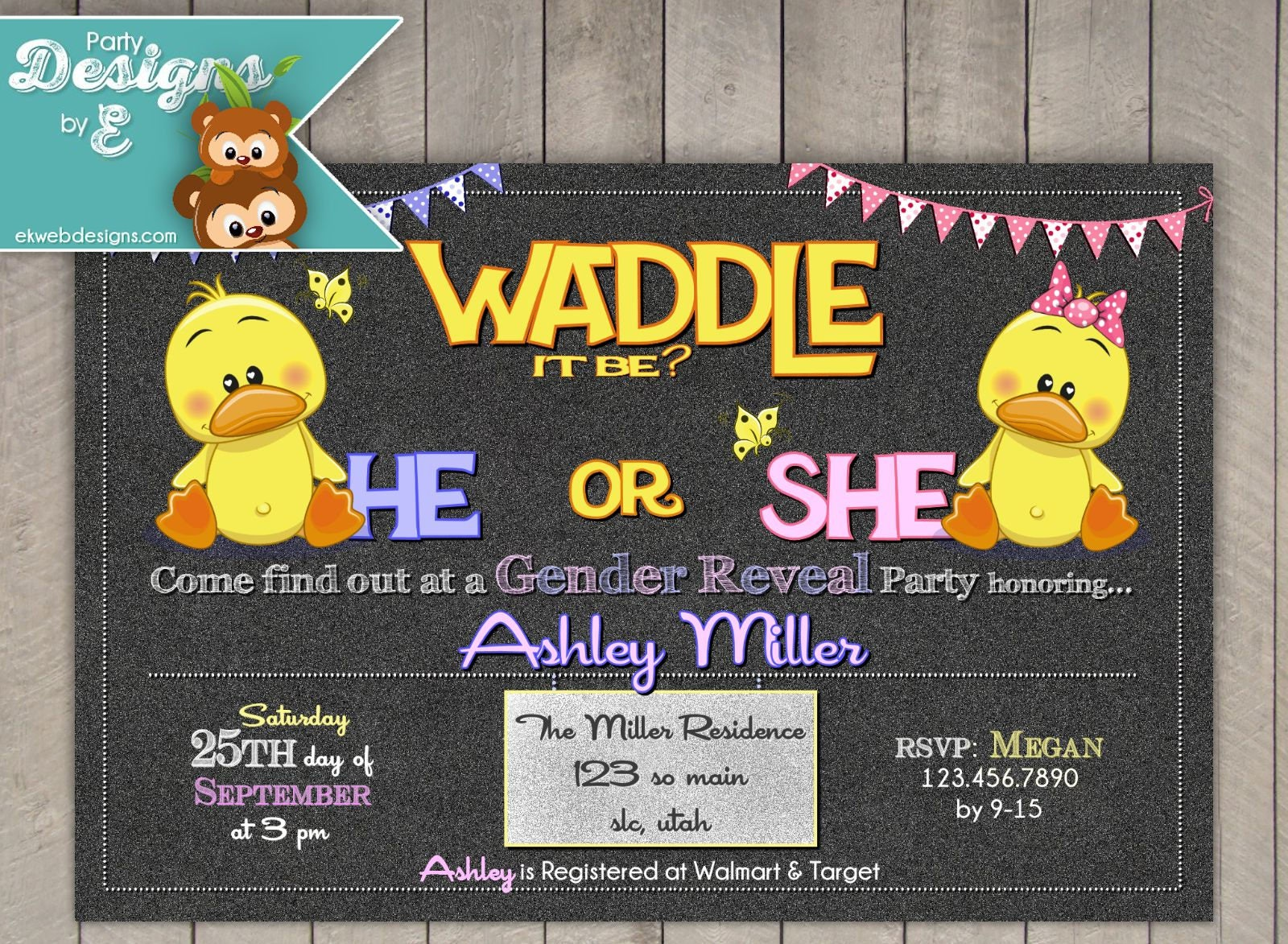 Waddle it be Gender Reveal Party Invitation Duck Baby Shower