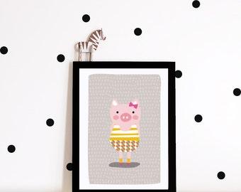 Nursery art, nursery poster, kids room poster, girls room poster, pig art print, kids art print, modern nursery poster