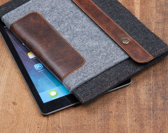 Dark Felt iPad 2018 Case with felt pocket and leather closure. Leather Cover for iPad Air 1 2. iPad Air Sleeve Bag made of felt & leather