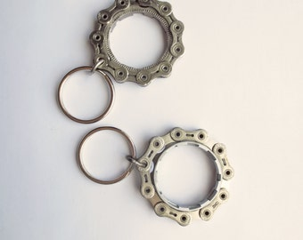 Key Ring , Recycled Bicycle Gear Ring , Industrial Style Key Chain