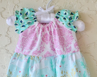 Baby unicorn dress special occassion baby shower gift girl handmade infant dress