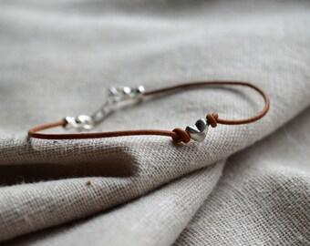 Sterling Heart Bracelet - Love Bracelet - Valentine's Gift - Leather