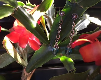 Sterling silver chain with Swarovski crystal in turquoise earrings