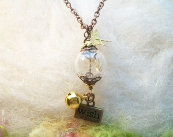 Real Dandelion Seed Wish Orb Necklace Dragonfly Wish Bell DandelionTerrarium Necklace, Natural Jewelry Real Organic Make A Wish Jewelry
