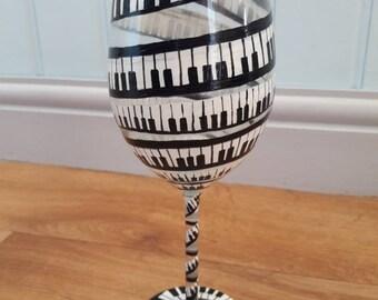 Handpainted Piano  keys wine glass. Piano keys music. Large wine glass