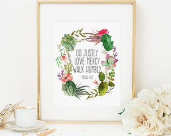 Do Justly Love Mercy Walk Humbly Printable Micah 6:8 Cactus Wreath Scripture Verse Wall Art Cactus Bible Verse Wall Art Christian Wall Art