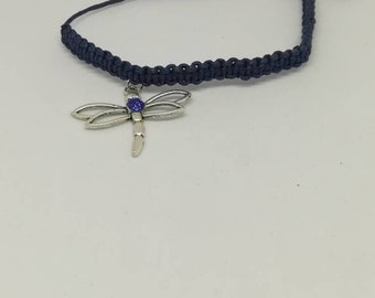 Dragonfly and midnight blue braided bracelet