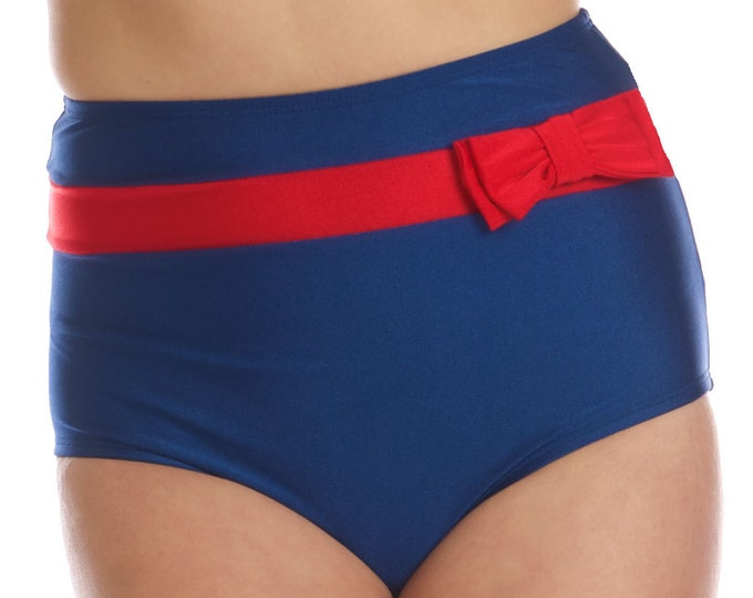 Frannie Super High Waisted Navy and Red Bikini Bottom with Bow (XS only)