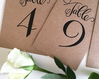 Rustic Wedding Table Numbers, Wedding Table Decor, Calligraphy Table Numbers, Reception Decorations, Wedding Table Markers, Wedding Table